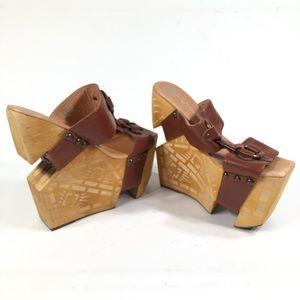 Jeffrey Campbell Burst Wooden Platform Sandals